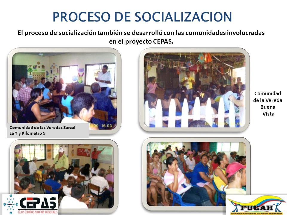 PROCESO DE SOCIALIZACION El proceso de socialización también se desarrolló con las comunidades involucradas en el proyecto CEPAS. Comunidad de las Ver