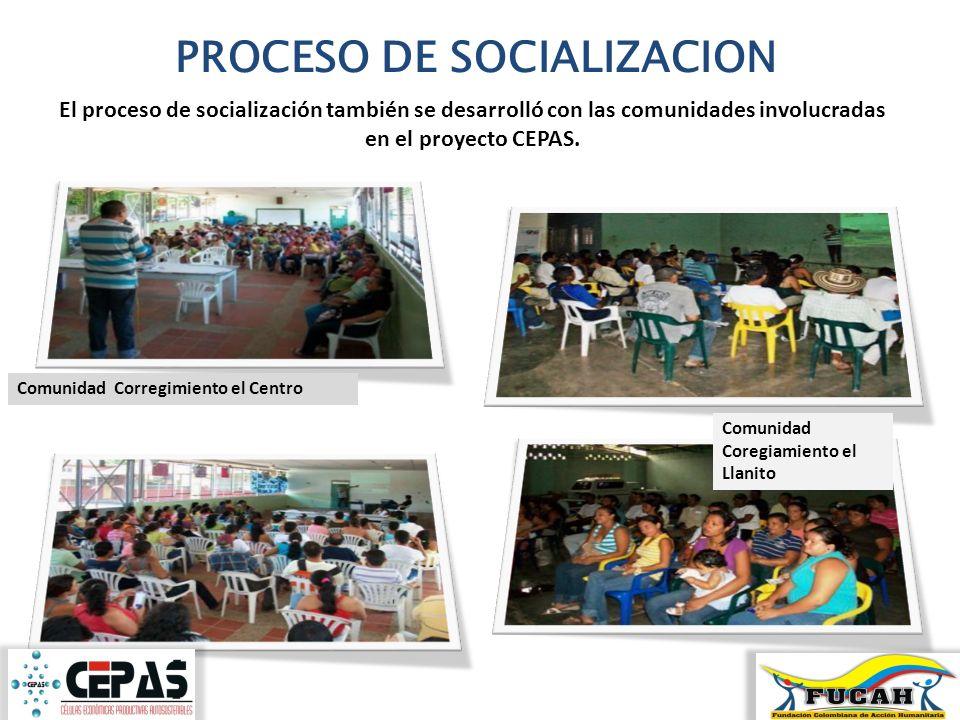 PROCESO DE SOCIALIZACION El proceso de socialización también se desarrolló con las comunidades involucradas en el proyecto CEPAS. Comunidad Corregimie