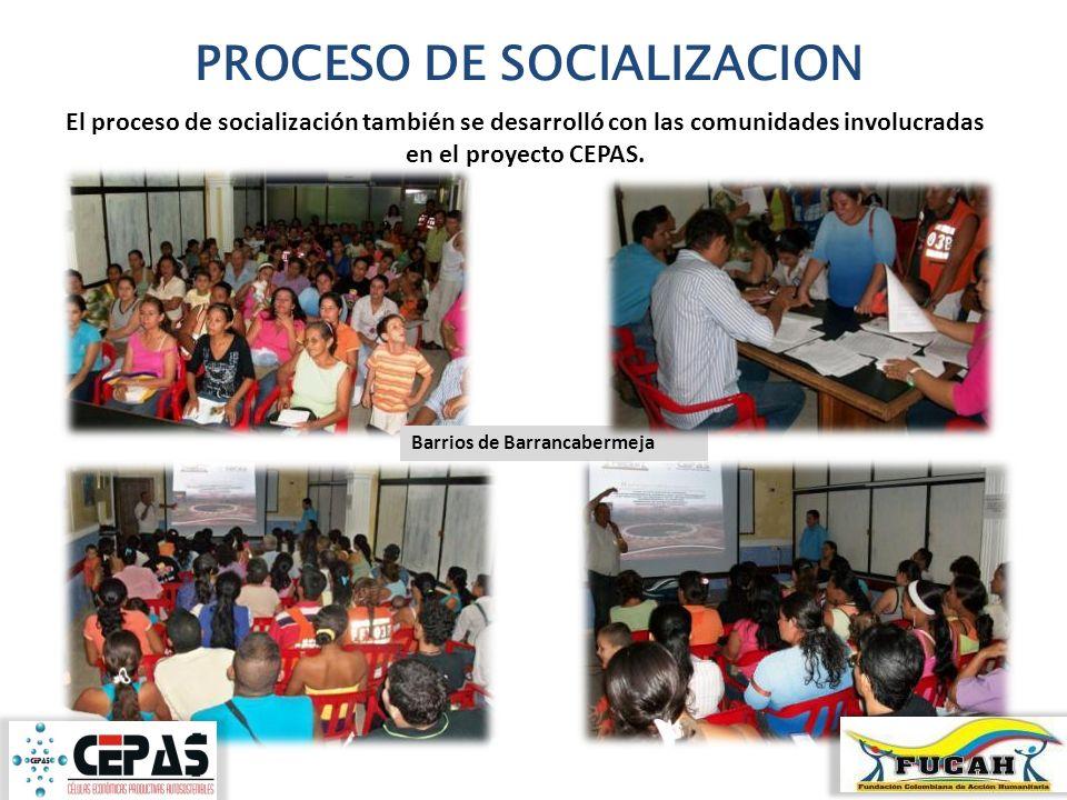 PROCESO DE SOCIALIZACION El proceso de socialización también se desarrolló con las comunidades involucradas en el proyecto CEPAS. Barrios de Barrancab