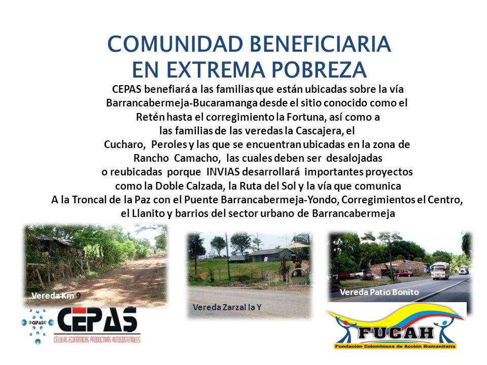 COMUNIDAD BENEFICIARIA EN EXTREMA POBREZA CEPAS benefiará a las familias que están ubicadas sobre la vía Barrancabermeja-Bucaramanga desde el sitio co