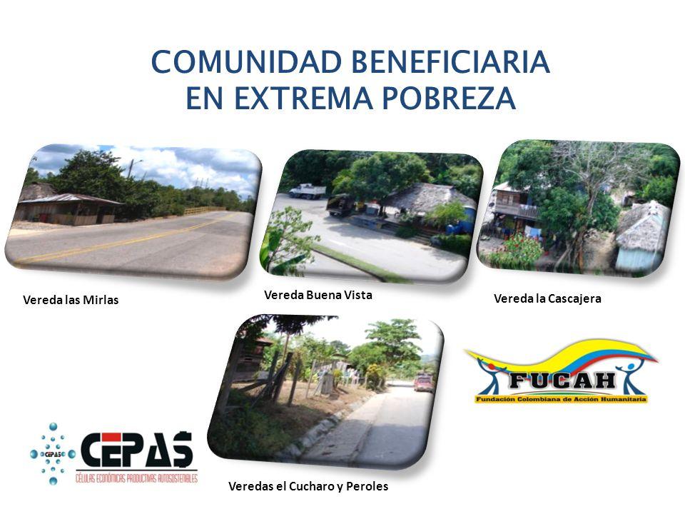 COMUNIDAD BENEFICIARIA EN EXTREMA POBREZA Vereda las Mirlas Vereda Buena Vista Vereda la Cascajera Veredas el Cucharo y Peroles