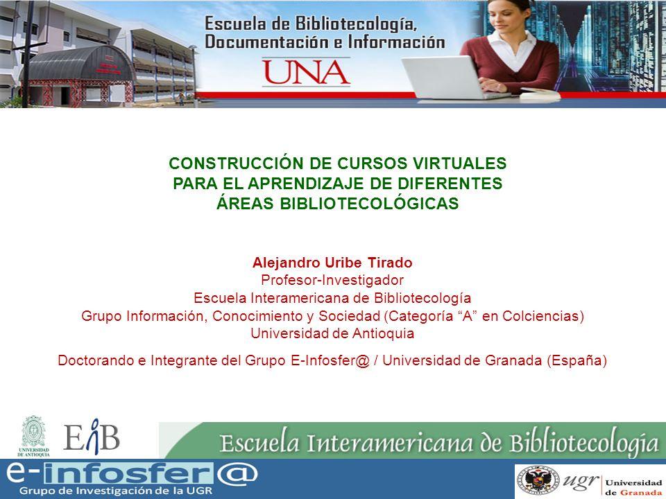 12 CONSTRUCCIÓN DE CURSOS VIRTUALES PARA EL APRENDIZAJE DE DIFERENTES ÁREAS BIBLIOTECOLÓGICAS Acuerdos conceptuales: educación a distancia, educación virtual, e-learning 1.Espacio personal 2.Aula virtual/Sala de asignatura 3.EVA: Entorno virtual de Enseñanza-Aprendizaje 4.Campus virtual 5.Plataforma MATERIAL 3