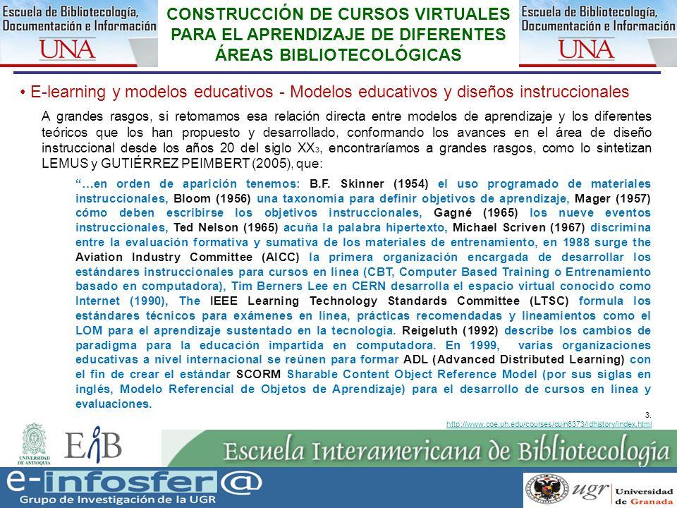 16 23-03-07 CONSTRUCCIÓN DE CURSOS VIRTUALES PARA EL APRENDIZAJE DE DIFERENTES ÁREAS BIBLIOTECOLÓGICAS E-learning y modelos educativos - Modelos educa