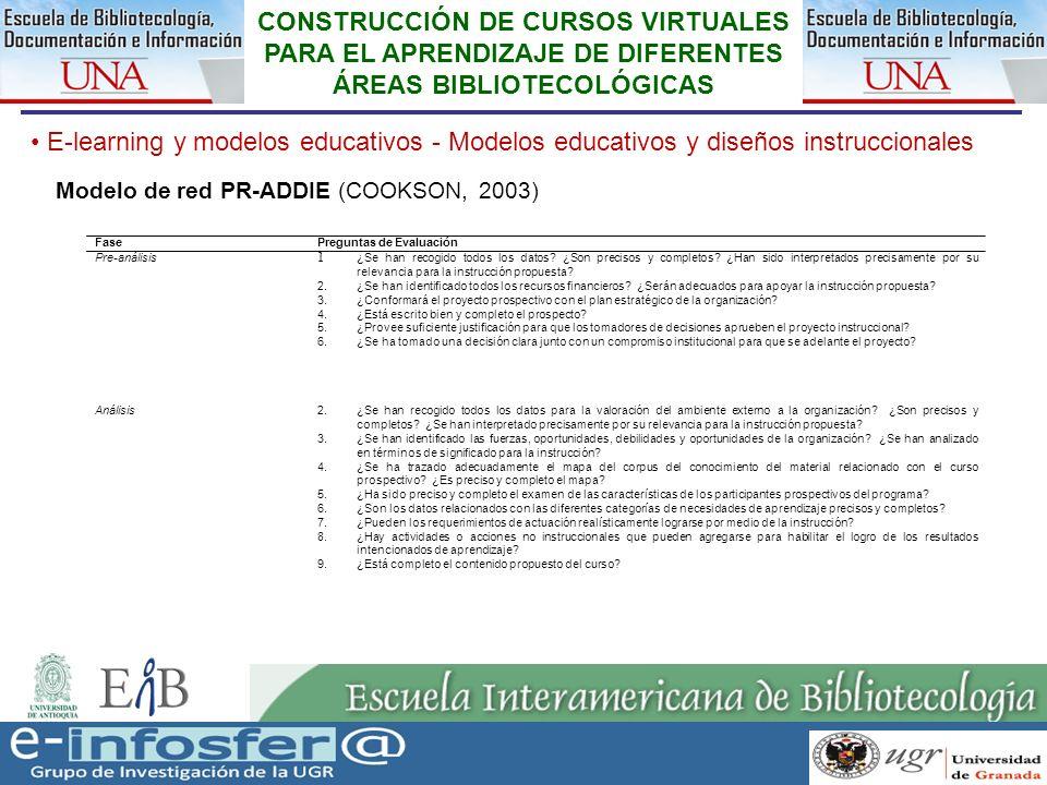 23 23-03-07 CONSTRUCCIÓN DE CURSOS VIRTUALES PARA EL APRENDIZAJE DE DIFERENTES ÁREAS BIBLIOTECOLÓGICAS E-learning y modelos educativos - Modelos educa