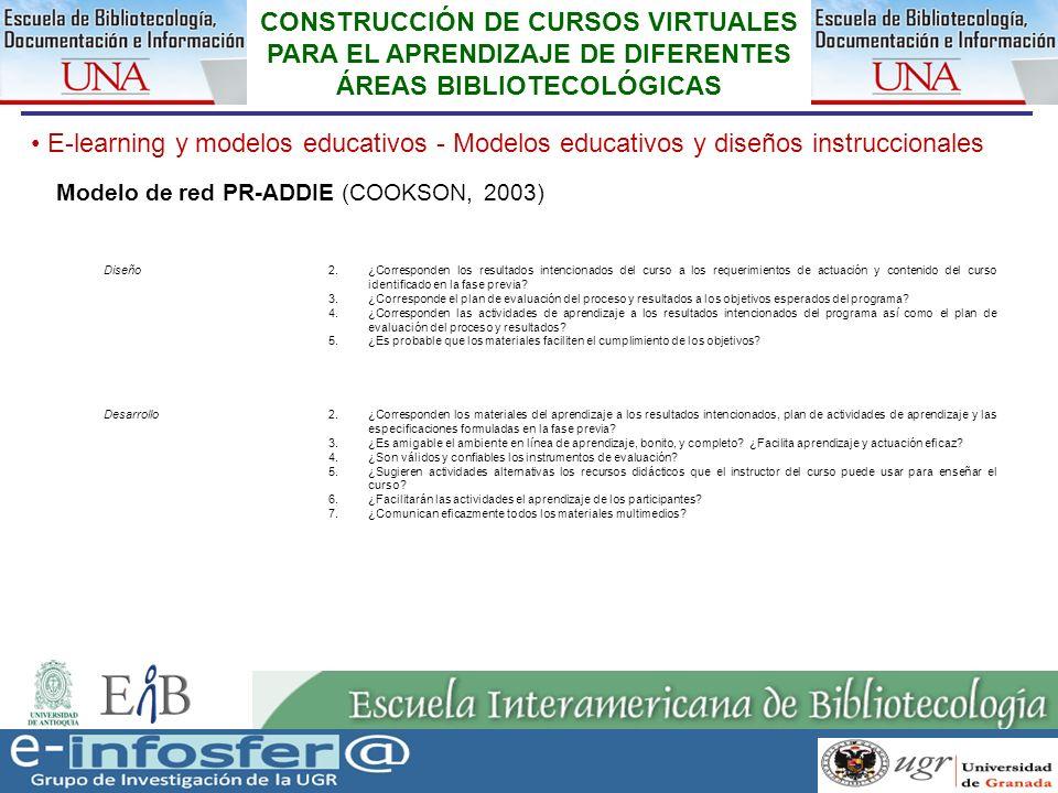 24 23-03-07 CONSTRUCCIÓN DE CURSOS VIRTUALES PARA EL APRENDIZAJE DE DIFERENTES ÁREAS BIBLIOTECOLÓGICAS E-learning y modelos educativos - Modelos educa