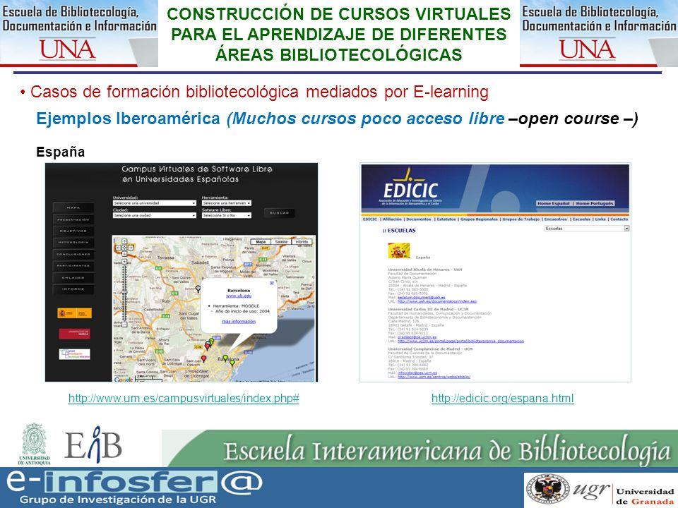 28 23-03-07 CONSTRUCCIÓN DE CURSOS VIRTUALES PARA EL APRENDIZAJE DE DIFERENTES ÁREAS BIBLIOTECOLÓGICAS Casos de formación bibliotecológica mediados po