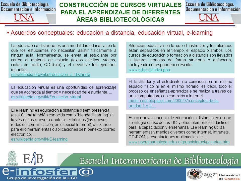 5 CONSTRUCCIÓN DE CURSOS VIRTUALES PARA EL APRENDIZAJE DE DIFERENTES ÁREAS BIBLIOTECOLÓGICAS Acuerdos conceptuales: educación a distancia, educación virtual, e-learning http://www.educationfutures.com/resources/timeline/ http://www.youtube.com/watch?v=BaneiFjTT9I