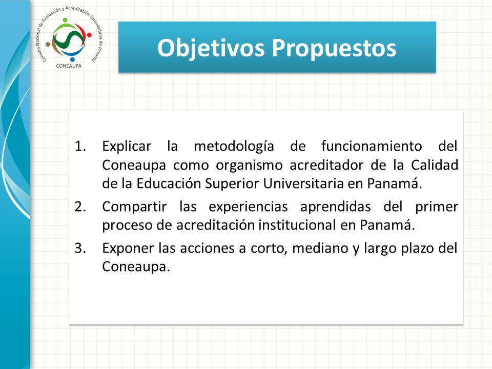 Objetivos Propuestos 1.Explicar la metodología de funcionamiento del Coneaupa como organismo acreditador de la Calidad de la Educación Superior Univer