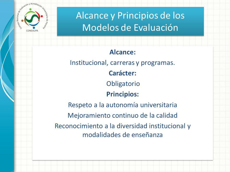 Alcance y Principios de los Modelos de Evaluación Alcance: Institucional, carreras y programas. Carácter: Obligatorio Principios: Respeto a la autonom