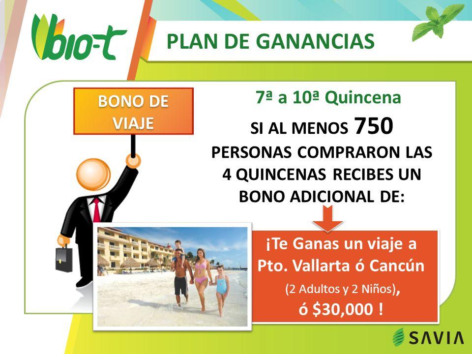 PLAN DE GANANCIAS 7ª a 10ª Quincena ¡Te Ganas un viaje a Pto. Vallarta ó Cancún (2 Adultos y 2 Niños), ó $30,000 ! ¡Te Ganas un viaje a Pto. Vallarta