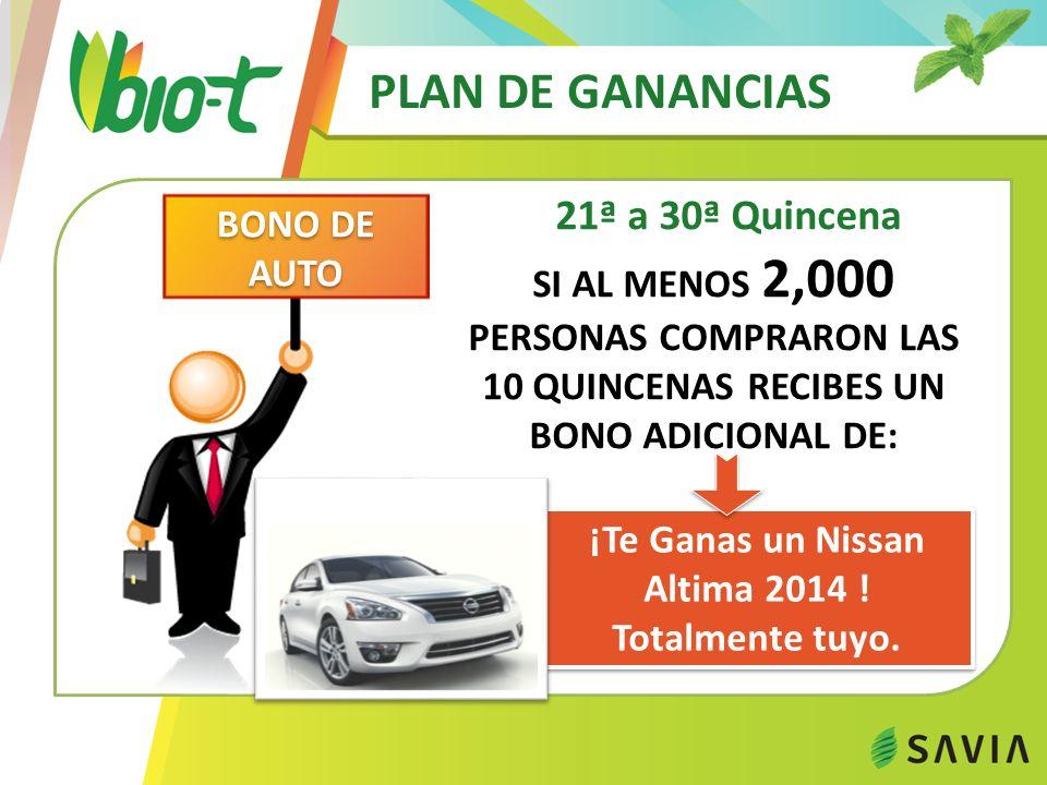 PLAN DE GANANCIAS 21ª a 30ª Quincena ¡Te Ganas un Nissan Altima 2014 ! Totalmente tuyo. ¡Te Ganas un Nissan Altima 2014 ! Totalmente tuyo. BONO DE AUT