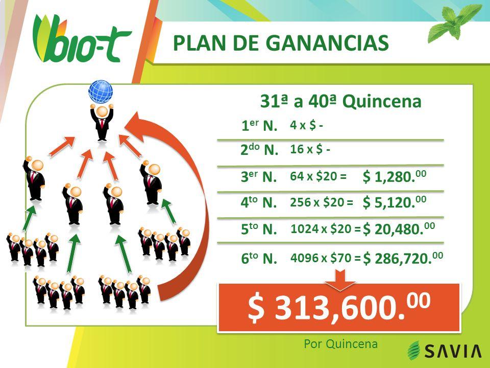 PLAN DE GANANCIAS 31ª a 40ª Quincena $ 313,600. 00 Por Quincena 1 er N.