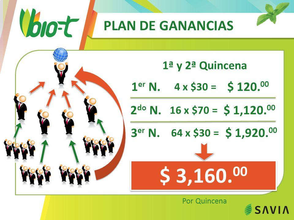 PLAN DE GANANCIAS 21ª a 30ª Quincena $ 160,000.00 Por Quincena 1 er N.