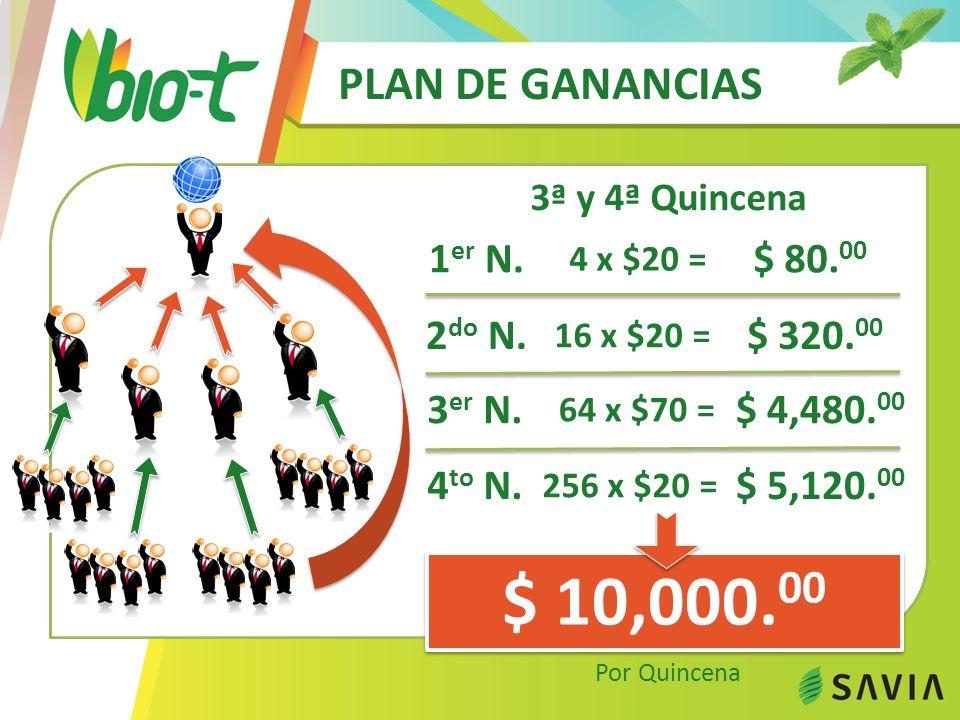 PLAN DE GANANCIAS 31ª a 40ª Quincena $ 313,600.00 Por Quincena 1 er N.