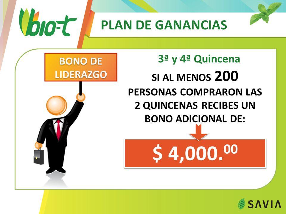 PLAN DE GANANCIAS 5ª y 6ª Quincena $ 40,000.00 1 er N.