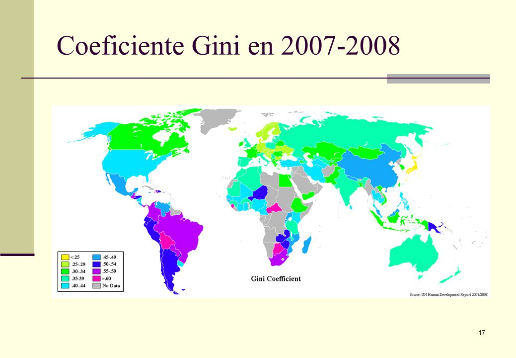 Coeficiente Gini en 2007-2008 17