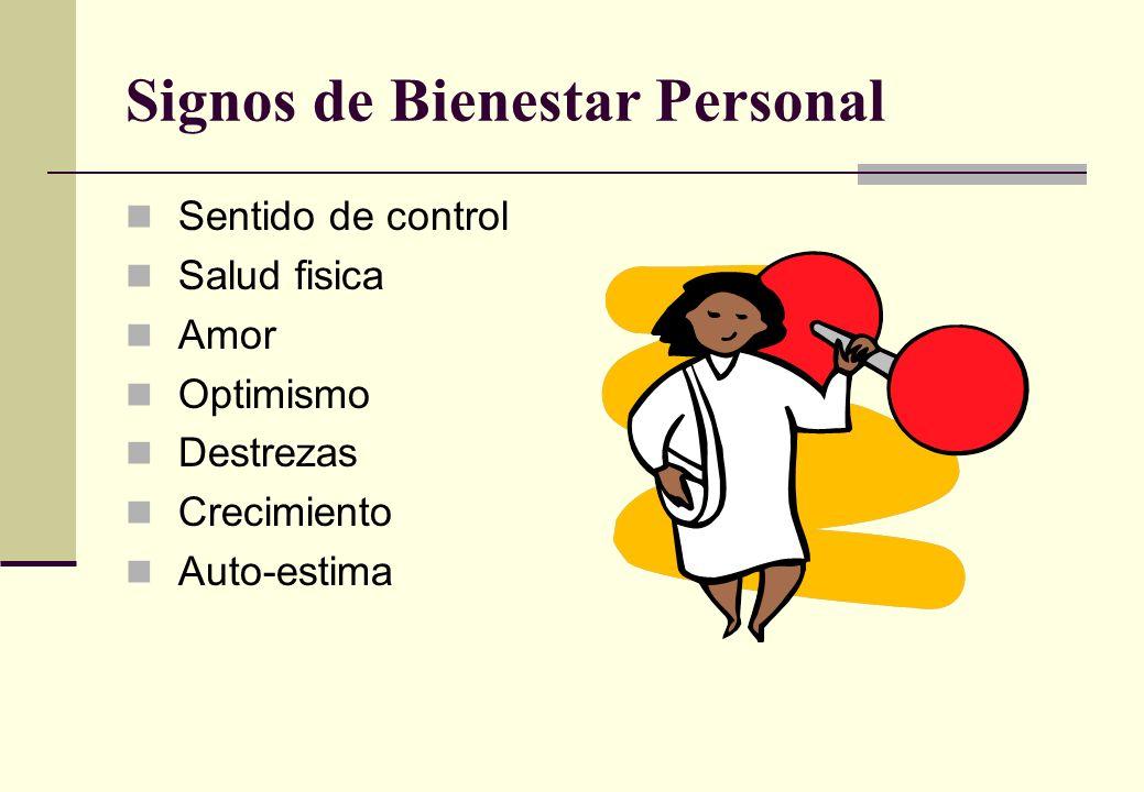 Signos de Bienestar Personal Sentido de control Salud fisica Amor Optimismo Destrezas Crecimiento Auto-estima