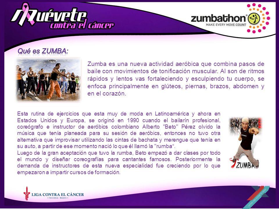 Zumba es una nueva actividad aeróbica que combina pasos de baile con movimientos de tonificación muscular. Al son de ritmos rápidos y lentos vas forta