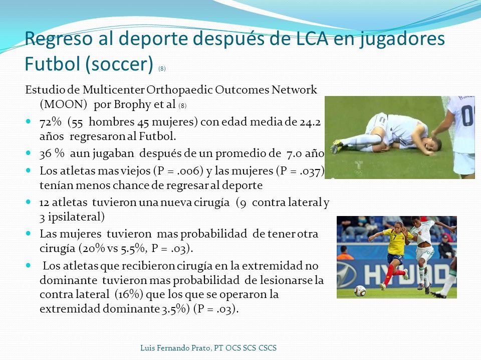 Regreso al deporte después de LCA en jugadores Futbol (soccer) (8) Estudio de Multicenter Orthopaedic Outcomes Network (MOON) por Brophy et al (8) 72% (55 hombres 45 mujeres) con edad media de 24.2 años regresaron al Futbol.