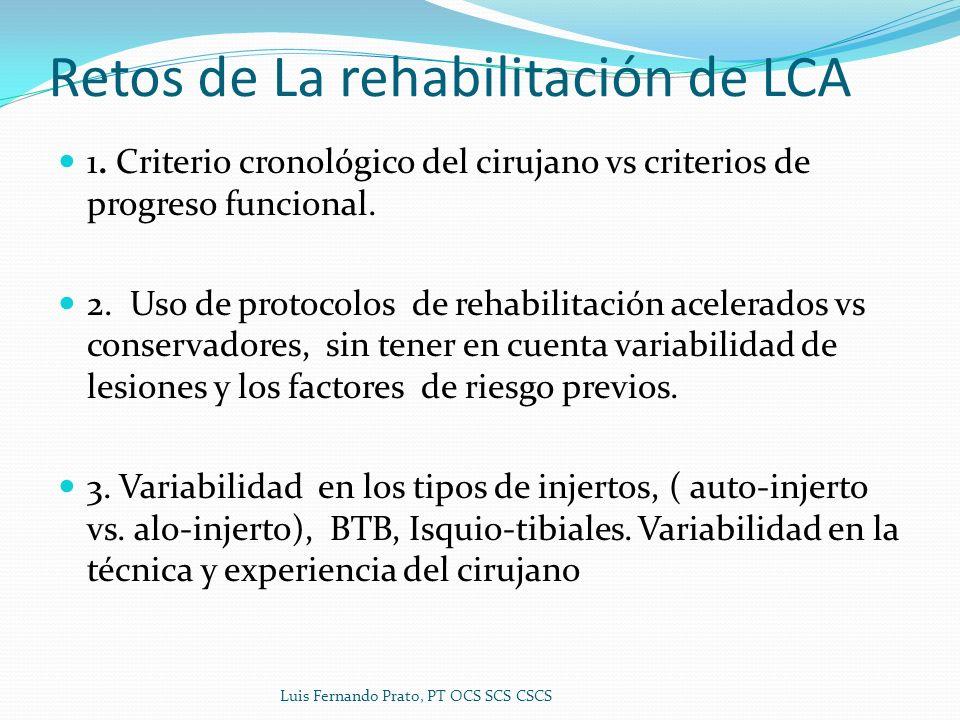 Retos de La rehabilitación de LCA 1. Criterio cronológico del cirujano vs criterios de progreso funcional. 2. Uso de protocolos de rehabilitación acel