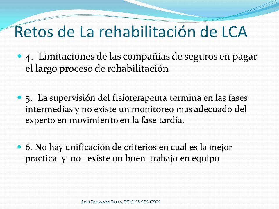 Retos de La rehabilitación de LCA 4. Limitaciones de las compañías de seguros en pagar el largo proceso de rehabilitación 5. La supervisión del fisiot