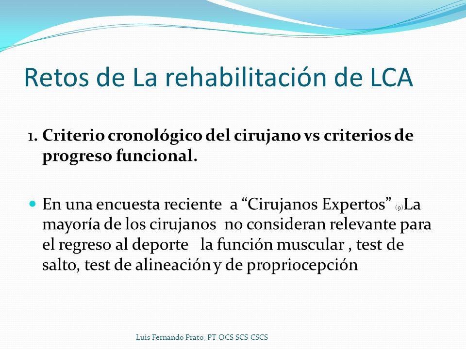 Retos de La rehabilitación de LCA 1. Criterio cronológico del cirujano vs criterios de progreso funcional. En una encuesta reciente a Cirujanos Expert
