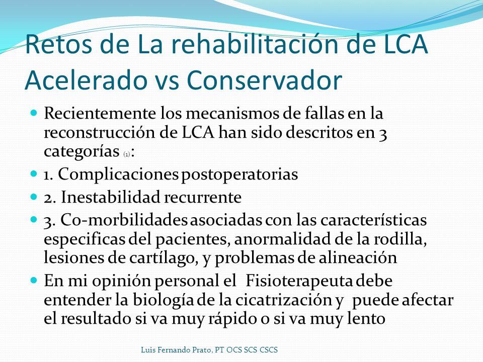 Retos de La rehabilitación de LCA Acelerado vs Conservador Recientemente los mecanismos de fallas en la reconstrucción de LCA han sido descritos en 3 categorías (1) : 1.
