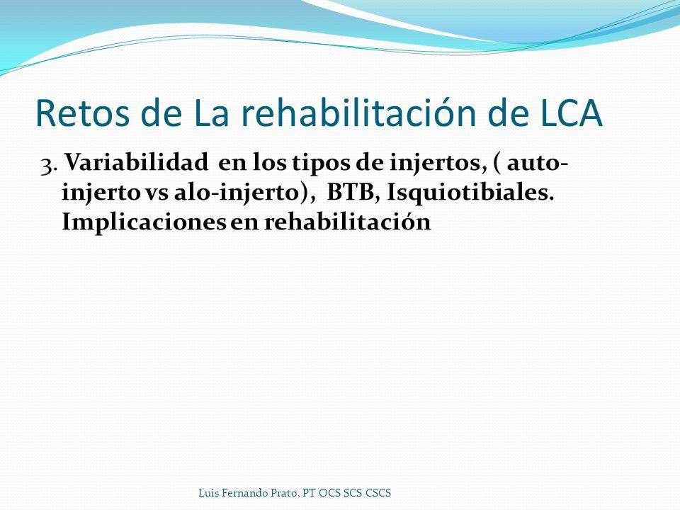 Retos de La rehabilitación de LCA 3. Variabilidad en los tipos de injertos, ( auto- injerto vs alo-injerto), BTB, Isquiotibiales. Implicaciones en reh