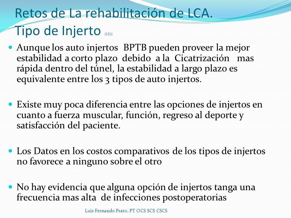 Retos de La rehabilitación de LCA. Tipo de Injerto (15)) Aunque los auto injertos BPTB pueden proveer la mejor estabilidad a corto plazo debido a la C