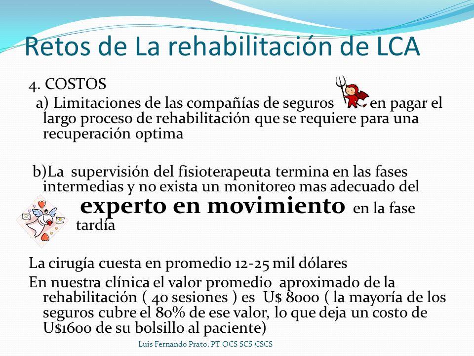 Retos de La rehabilitación de LCA 4. COSTOS a) Limitaciones de las compañías de seguros en pagar el largo proceso de rehabilitación que se requiere pa