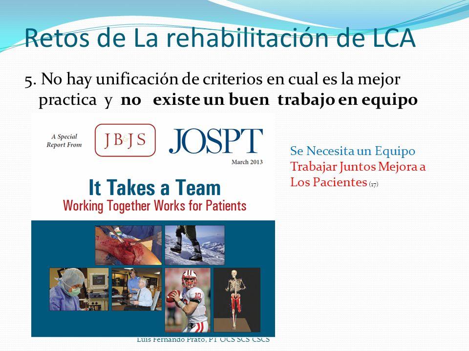 Retos de La rehabilitación de LCA 5. No hay unificación de criterios en cual es la mejor practica y no existe un buen trabajo en equipo Luis Fernando