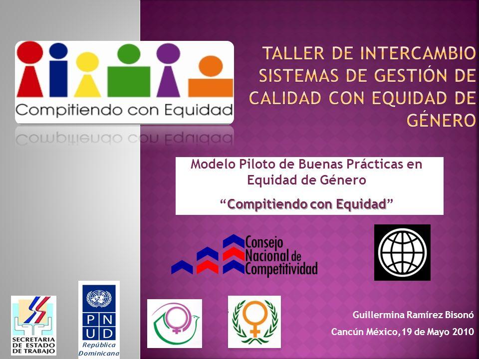 Modelo Piloto de Buenas Prácticas en Equidad de Género Compitiendo con EquidadCompitiendo con Equidad Guillermina Ramírez Bisonó Cancún México,19 de Mayo 2010