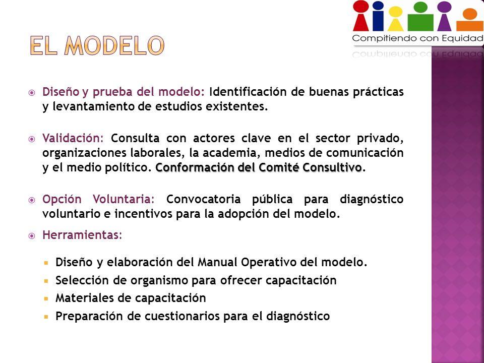 Diseño y prueba del modelo: Identificación de buenas prácticas y levantamiento de estudios existentes. Conformación del Comité Consultivo Validación: