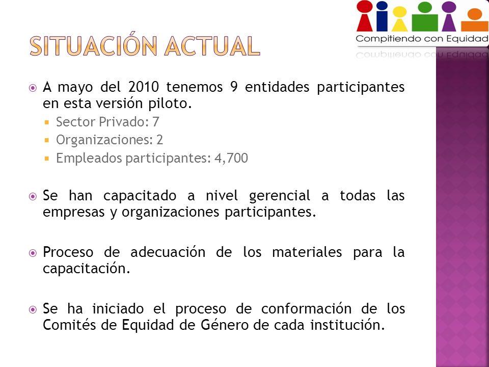 A mayo del 2010 tenemos 9 entidades participantes en esta versión piloto. Sector Privado: 7 Organizaciones: 2 Empleados participantes: 4,700 Se han ca