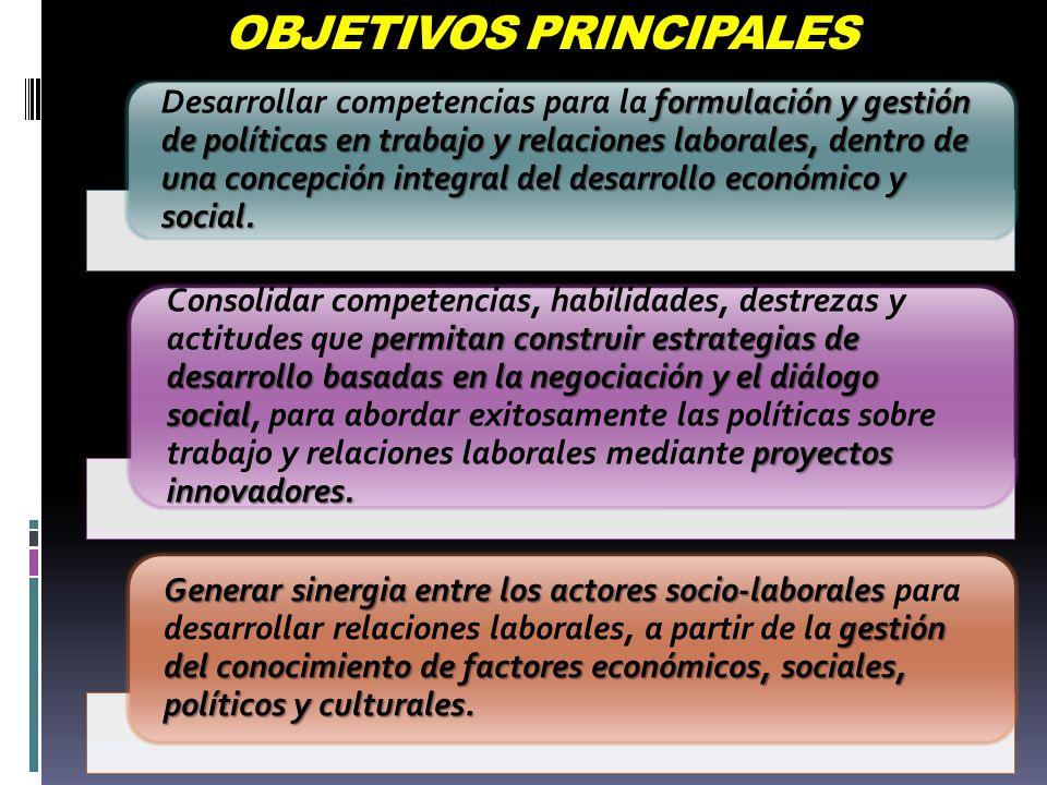 OBJETIVOS PRINCIPALES formulación y gestión de políticas en trabajo y relaciones laborales, dentro de una concepción integral del desarrollo económico y social.