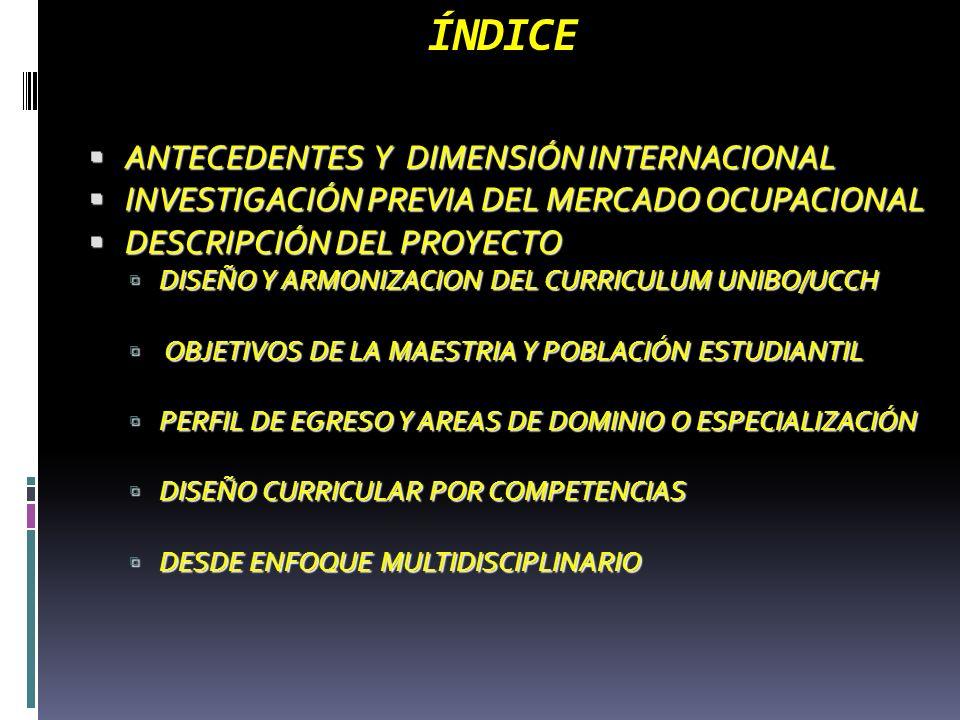 ÍNDICE ANTECEDENTES Y DIMENSIÓN INTERNACIONAL ANTECEDENTES Y DIMENSIÓN INTERNACIONAL INVESTIGACIÓN PREVIA DEL MERCADO OCUPACIONAL INVESTIGACIÓN PREVIA