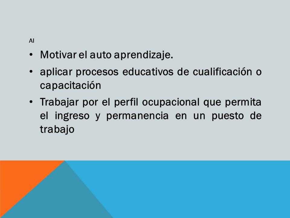 Al Motivar el auto aprendizaje. aplicar procesos educativos de cualificación o capacitación Trabajar por el perfil ocupacional que permita el ingreso