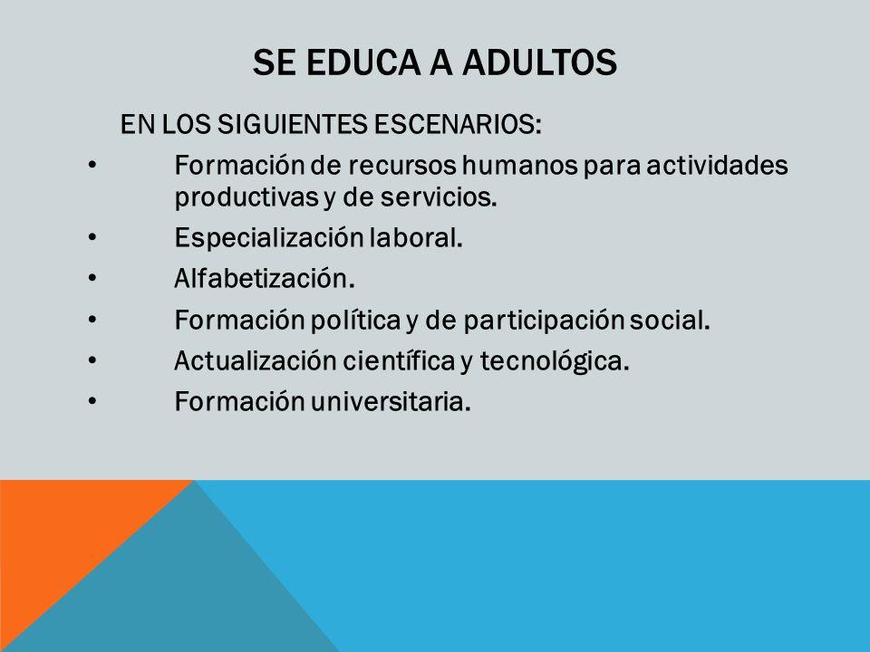 SE EDUCA A ADULTOS EN LOS SIGUIENTES ESCENARIOS: Formación de recursos humanos para actividades productivas y de servicios. Especialización laboral. A