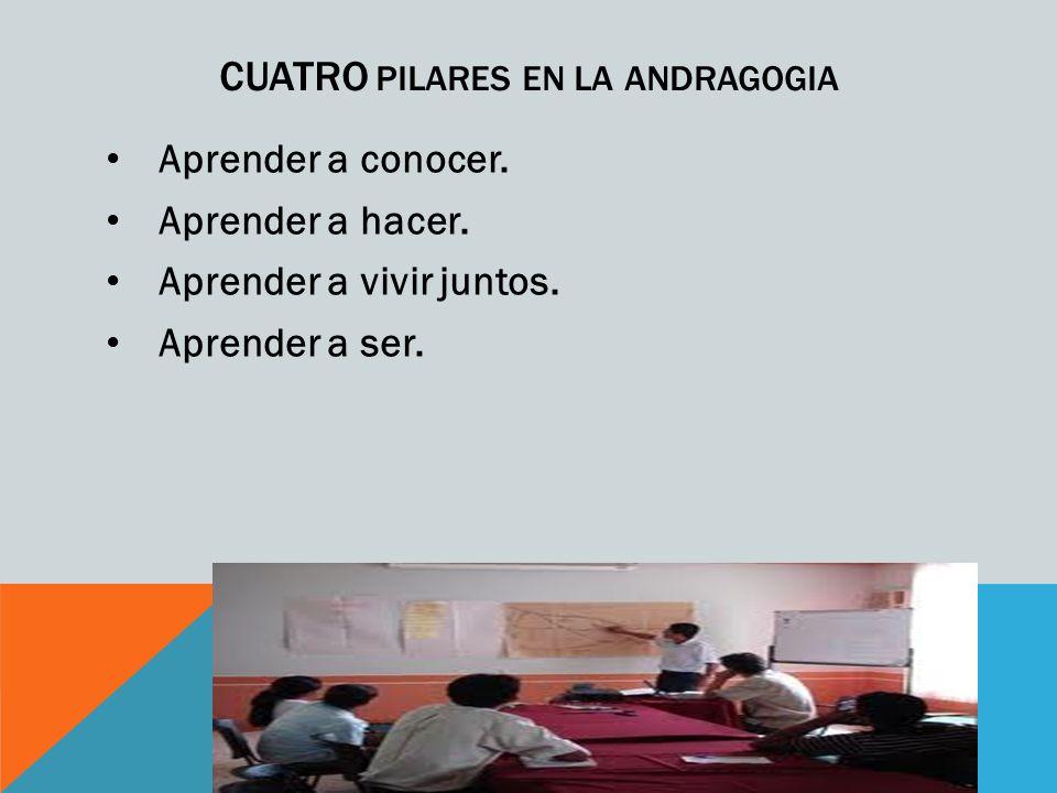 CUATRO PILARES EN LA ANDRAGOGIA Aprender a conocer.