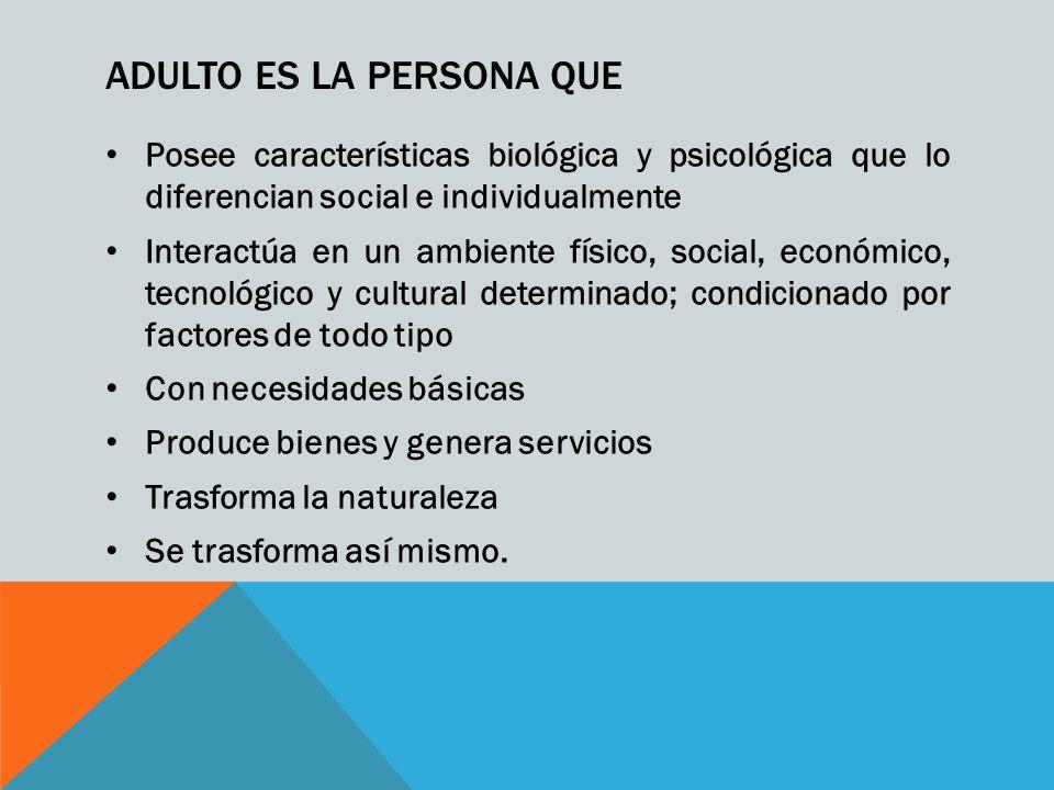 ADULTO ES LA PERSONA QUE Posee características biológica y psicológica que lo diferencian social e individualmente Interactúa en un ambiente físico, s