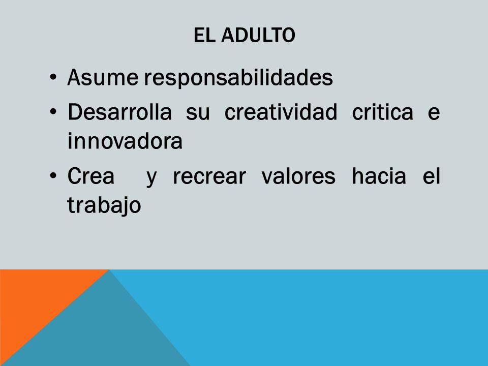 EL ADULTO Asume responsabilidades Desarrolla su creatividad critica e innovadora Crea y recrear valores hacia el trabajo
