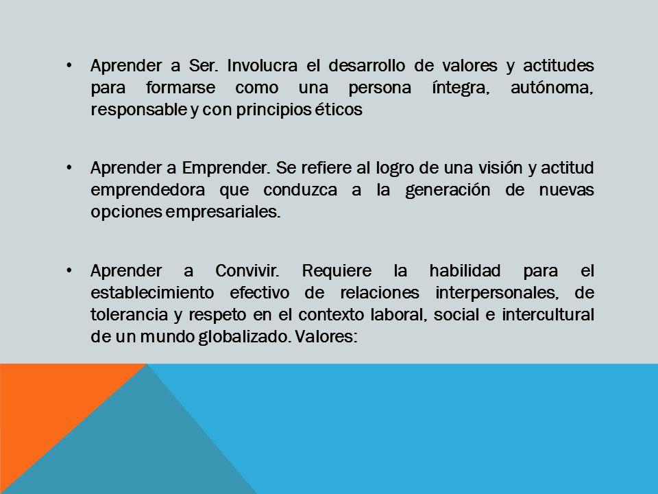 Aprender a Ser. Involucra el desarrollo de valores y actitudes para formarse como una persona íntegra, autónoma, responsable y con principios éticos A