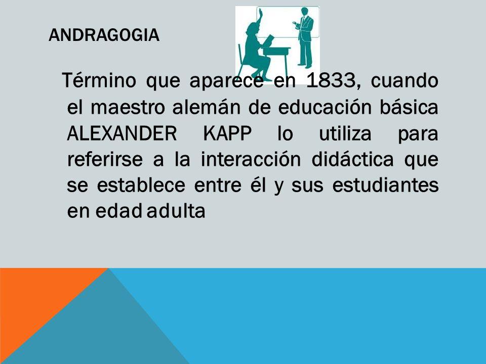 ANDRAGOGIA Término que aparece en 1833, cuando el maestro alemán de educación básica ALEXANDER KAPP lo utiliza para referirse a la interacción didáctica que se establece entre él y sus estudiantes en edad adulta