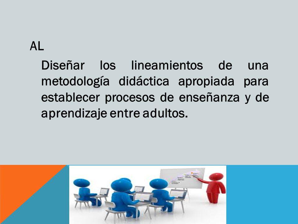 AL Intervenir en los diversos contextos de la educación de adultos y posibilitar la participación de manera flexible en todos los procesos educativos