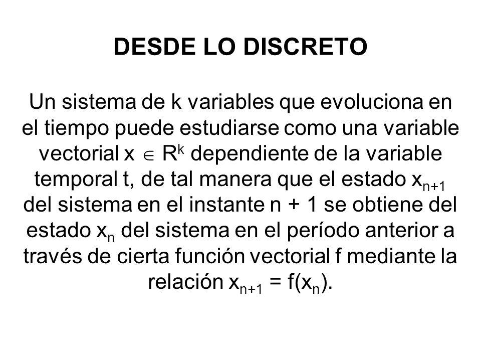 DESDE LO DISCRETO Un sistema de k variables que evoluciona en el tiempo puede estudiarse como una variable vectorial x R k dependiente de la variable
