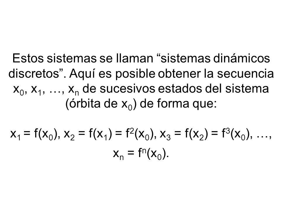 Estos sistemas se llaman sistemas dinámicos discretos. Aquí es posible obtener la secuencia x 0, x 1, …, x n de sucesivos estados del sistema (órbita