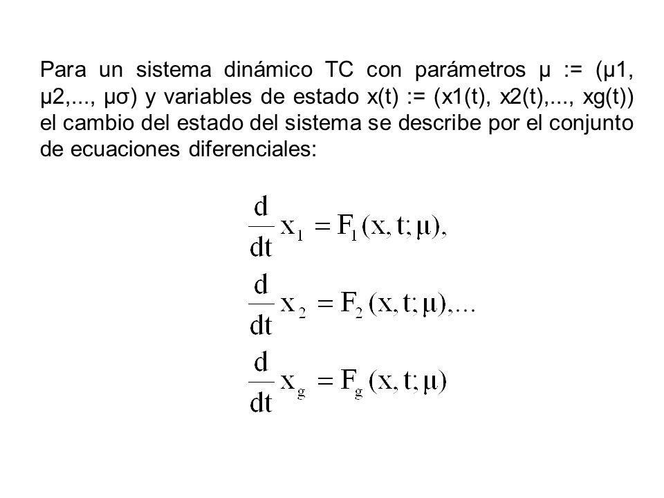 Para un sistema dinámico TC con parámetros μ := (μ1, μ2,..., μσ) y variables de estado x(t) := (x1(t), x2(t),..., xg(t)) el cambio del estado del sist