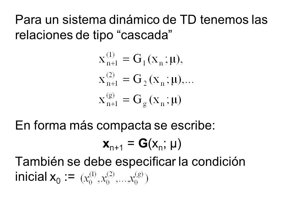 Para un sistema dinámico de TD tenemos las relaciones de tipo cascada En forma más compacta se escribe: x n+1 = G(x n ; μ) También se debe especificar