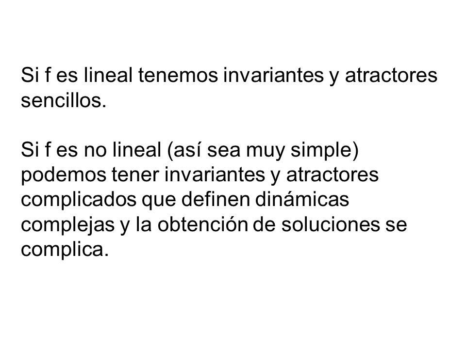 Si f es lineal tenemos invariantes y atractores sencillos. Si f es no lineal (así sea muy simple) podemos tener invariantes y atractores complicados q
