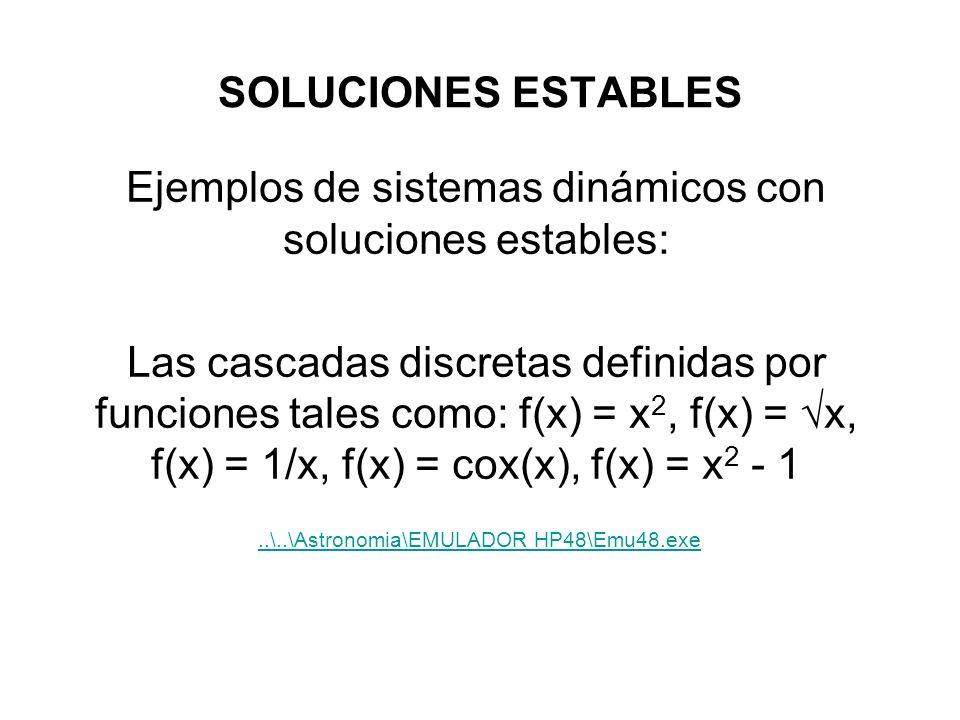 SOLUCIONES ESTABLES Ejemplos de sistemas dinámicos con soluciones estables: Las cascadas discretas definidas por funciones tales como: f(x) = x 2, f(x